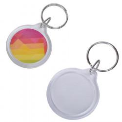 Брелок овал/круг «Plast Style Whit» пластик акрил белый печать с одной стороны