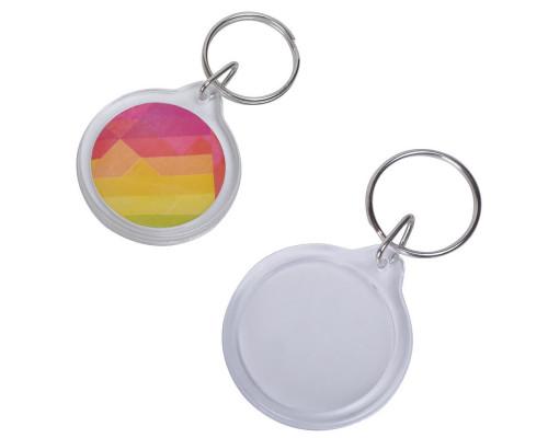 Брелок овал/круг «Plast Style Whit» пластик акрил белый печать с двух сторон