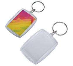 Брелок прямоугольный «Plast Style Whit» пластик акрил белый печать с  двух сторон