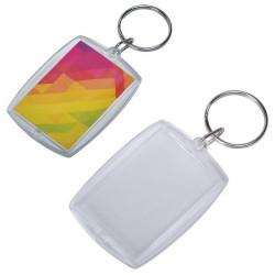 Брелок прямоугольный «Plast Style Whit» пластик акрил белый печать с  одной стороны