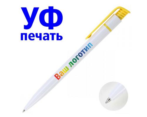 Ручка с Логотипом (белая) Желтая клип.