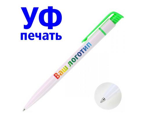 Ручка с Логотипом (белая) зеленая клип