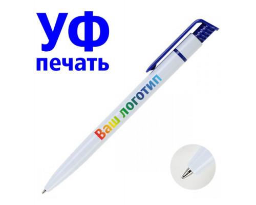Ручка с Логотипом (белая) синяя клип